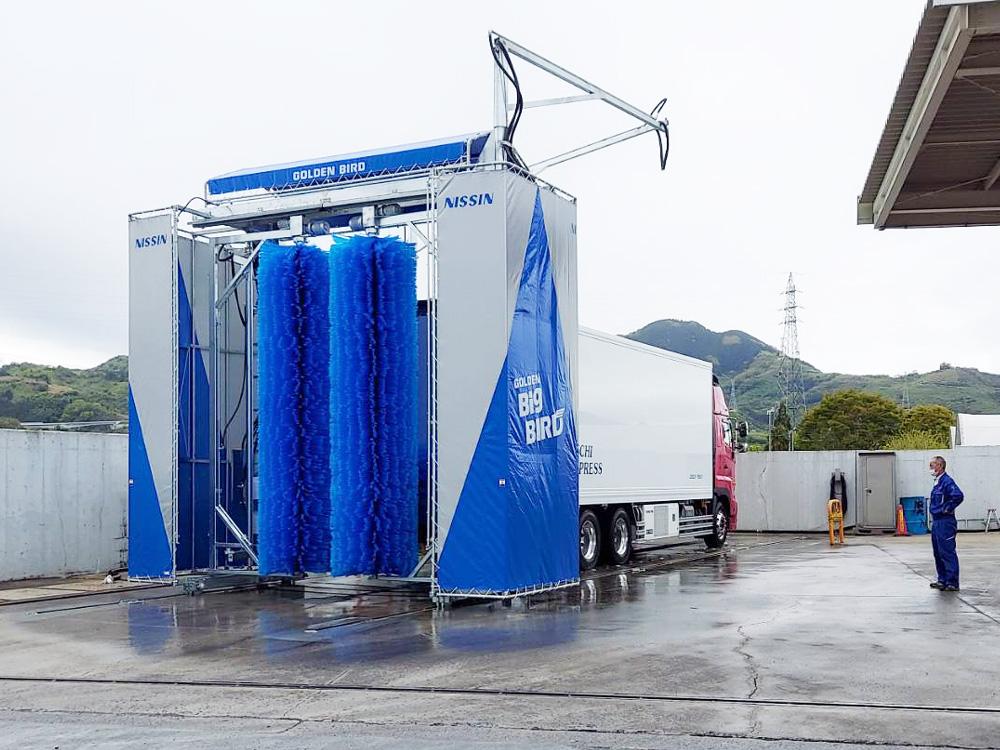 高野口運送本社駐車場洗車機(和歌山県橋本市)