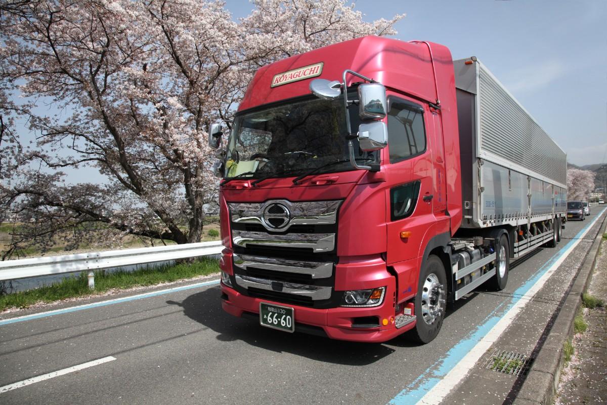 桜の中の高野口運送トラック